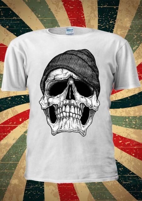 Dope Skull Black And White GEORDIE Tumblr Fashion T Shirt Men Women Unisex 1787