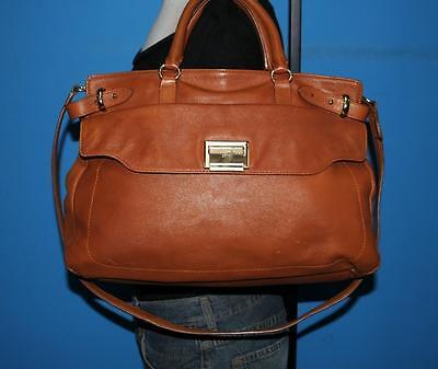 TALBOTS British Tan Leather Medium Satchel Carryall Shoulder Tote Bag Purse