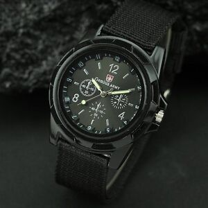 BLACK-MENS-SWISS-MILITARY-ARMY-WATCH-Sports-Water-Resistant-Silver-Gold-Womens