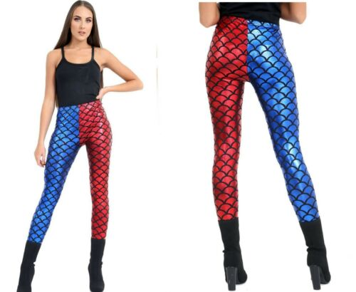 Womens Ladies Harley Quinn Suicide Squad Halloween Metallic Mermaid Legging 8-26