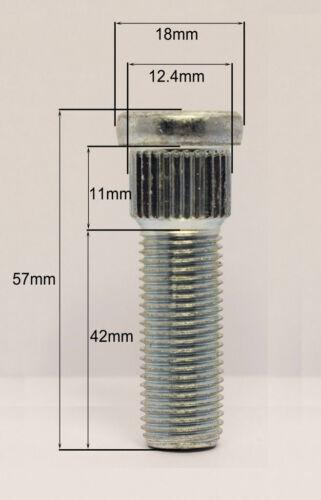 Spline 12.4mm filetto 42mm PER HONDA 5 x M12 x 1.5 Knock in ruota BORCHIE