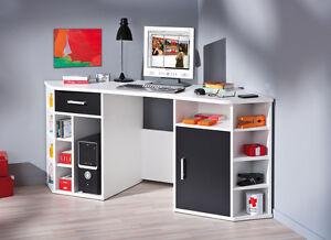 Schreibtisch Eckschreibtisch Schwarz Weiß 1 Tür 1 Schublade