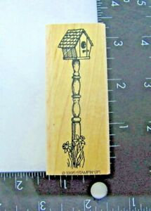 Stampin Up Simple Pleasures Tall Bird House Rubber Stamp 1995 Wood Mount New