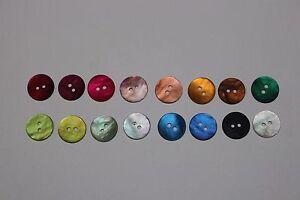 10 boutons rond 12mm de diamètre en nacre couleur au choix