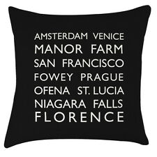 Personalised Bus blind words typography cushion