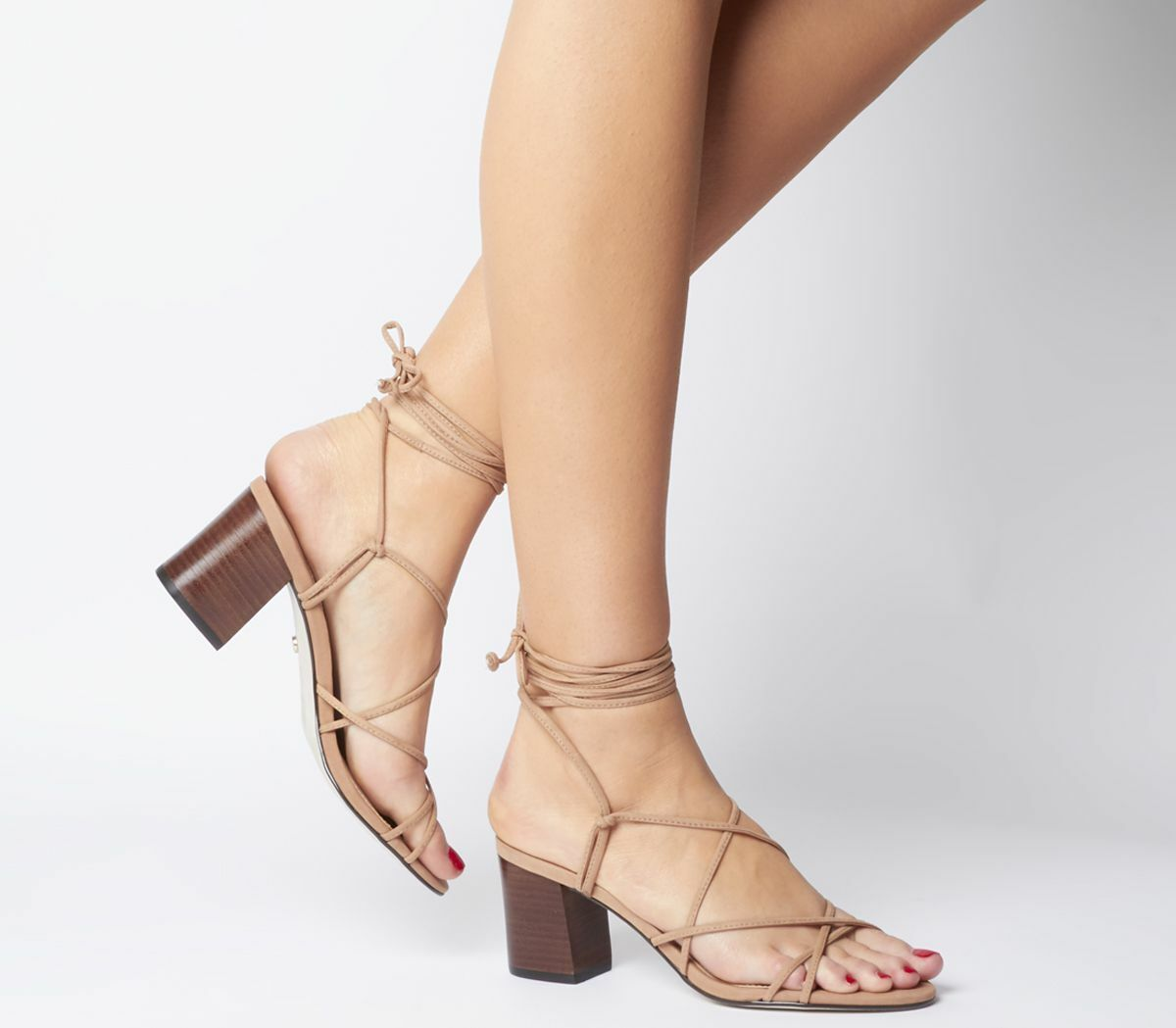 Womens Office Mapletree Strappy Block Sandals Nude Nubuck With Stack Heels