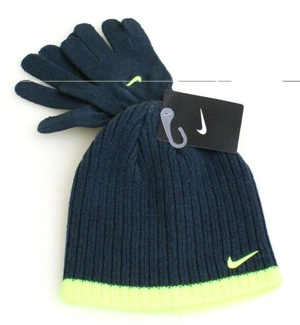39b738b57a4 Nike Hat   Gloves Combo Size 8 20 Yellow Gray Warm Gift Beanie Boys Girls