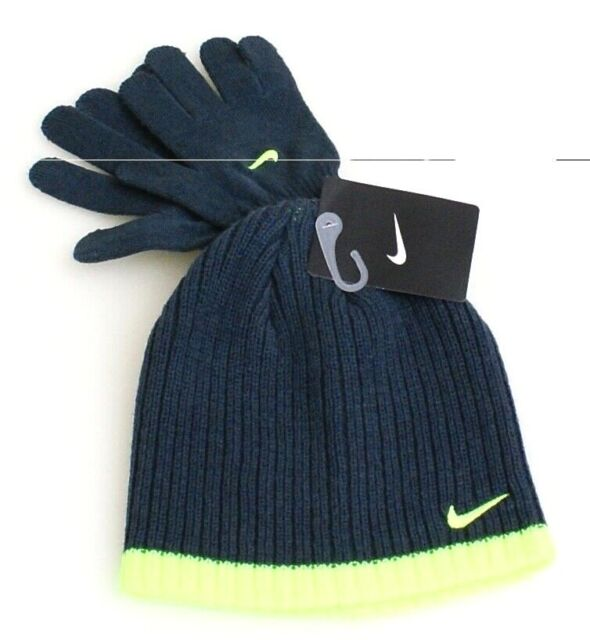 best cheap 1385a 061c8 Nike Gray   Volt Knit Beanie   Stretch Gloves Youth Boy s 8-20 NWT