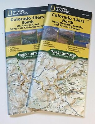 Colorado 14ers Topographic Trail Map Guide Set National Geographic  Waterproof | eBay