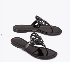 fad08577c Tory Burch NEW Miller Black Patent Leather Logo Flat Sandals RUNS .5 ...