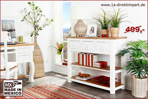 wandtisch anrichte sideboard pinie massiv wei natur mexico m bel shabby chic ebay. Black Bedroom Furniture Sets. Home Design Ideas