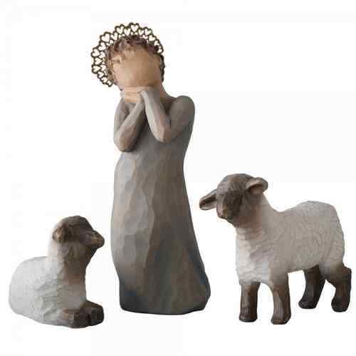 2 ovins Nouveau//Neuf dans sa boîte Shepherdess Berger crèches personnage Willow Tree petite bergère M