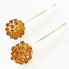 USA SELLER Bobby Pin Rhinestone Crystal Hair Clip Hairpin Simple Yellow Gold New