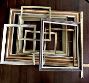 """Picture Frames Solid Wood Lot of 7 Crafts DIY Large up to 43"""" Vtg Mid Century"""