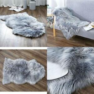 Details About Deluxe Soft Faux Sheepskin Throw Chair Cover Seat Pad Plain  Shaggy Area Rug
