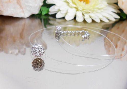 Zilar Schwebende unsichtbare Strass Kugel Halskette Nylon transparent