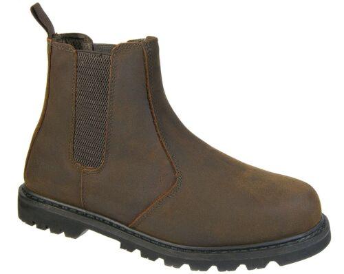 para con de Slip trabajo marrón acero Chelsea Cuero punta seguridad Botas On Grafters de Cuero hombres de gyFEyUWqR