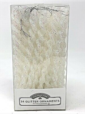 24 Holiday Time White Glitter Ornaments Icicle Christmas Tree Decorations New Ebay