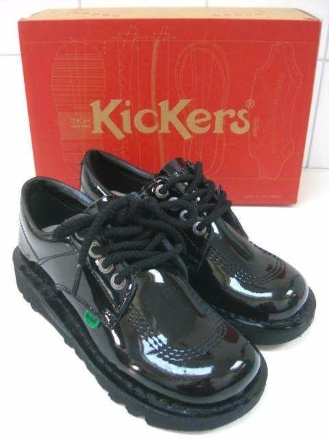 Womens girls KICKERS Kick Lo W black patent Leather shoes size UK 3.5 4 New bnib
