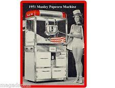 "Larger 8"" x 10 1/2"" 1951 Manley Popcorn Machine Refrigerator / Tool Box  Magnet"
