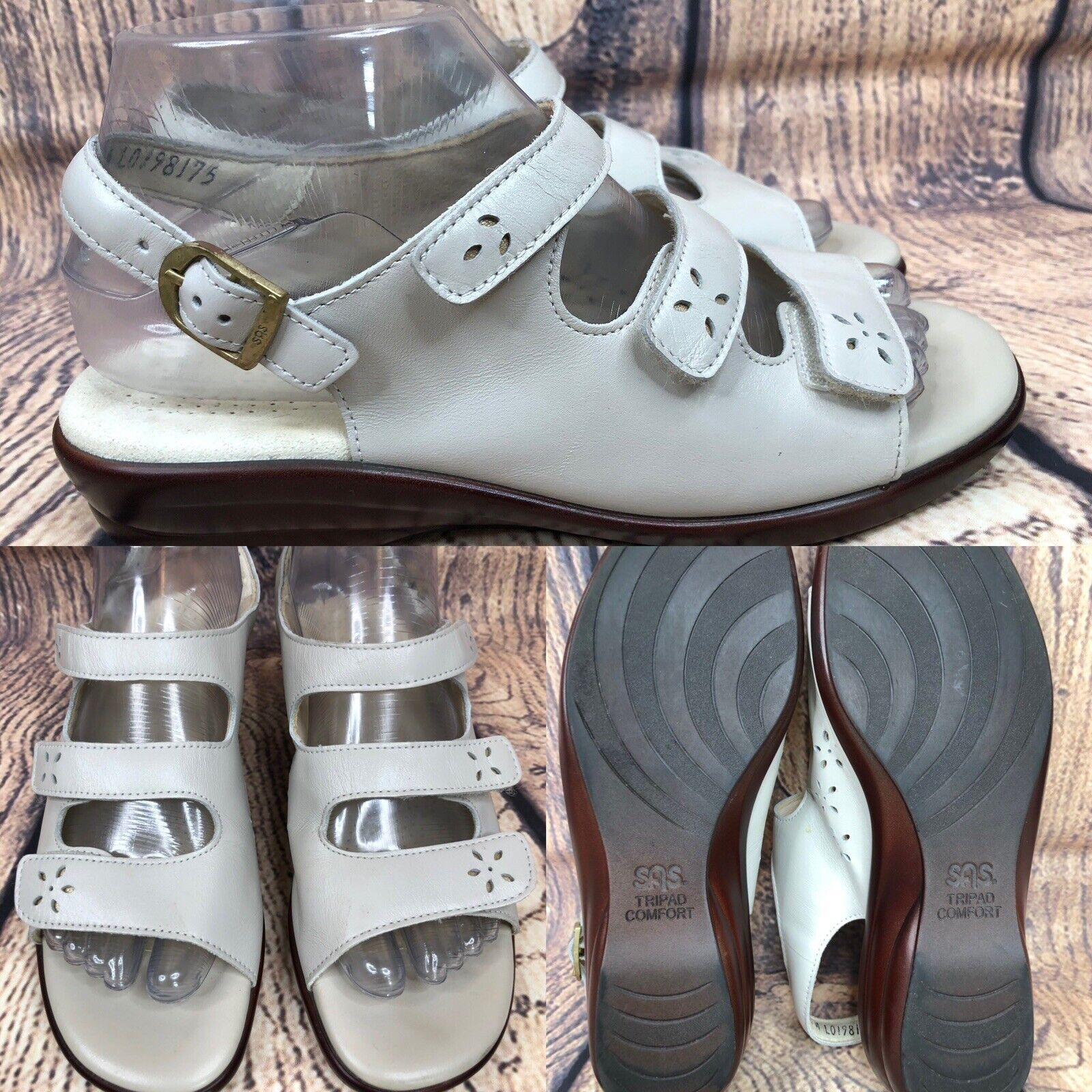Womens SAS TRIPAD COMFORT Ecru Beige Leather Ankle Strap Sandals SIZE 7.5 M