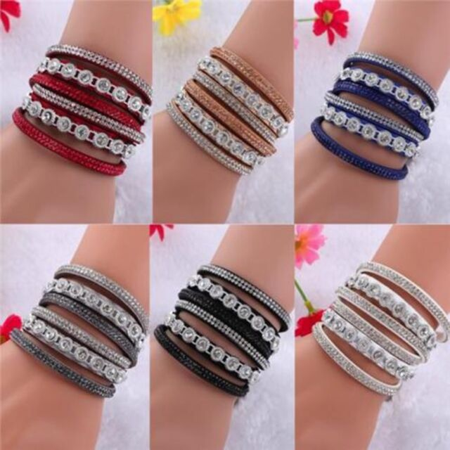 Women Multilayer Leather Bracelet Rhinestone Bangle Charm Cuff Chain Jewelry New