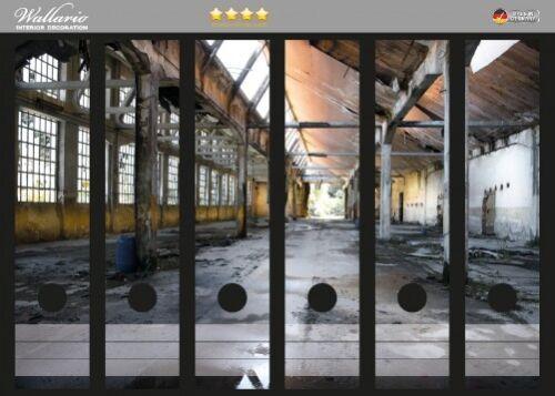 Alte Industriehalle Wallario Ordnerrücken selbstklebend 6 breite Ordner