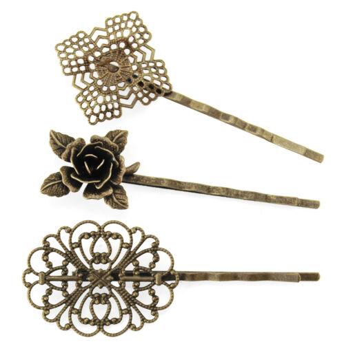 3xVintage Haarklammer-Haarspangen-Bronzefarben Filigran Blume-Headwear