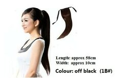 Clip On Off Black Straight Pony Tail Hair Extensions 1B