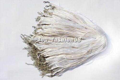 Wholesale 20pcs BLANC Organza Ruban Collier soie cordon fermoir 450 mm Free