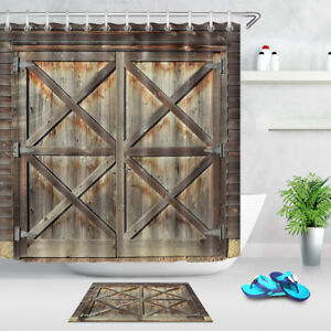 Image Is Loading Rustic Country Barn Doors 180CM Fabric SHOWER CURTAIN