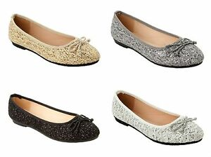 ae77ece05fb56 WOMENS GLITTER LACE PARTY FLAT DOLLY BALLET PUMPS SHOES LADIES UK ...