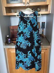89800fb4058 Croft   Barrow Women s Black Blue Coral Print Challis Midi Dress ...