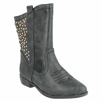 SALE H5021 GIRLS SPOT ON COWBOY STYLE ZIP UP MID CALF STUDDED DETAIL BOOTS