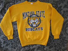 Vtg 80s Montana State Bobcats Sweatshirt USA College Athletic Yellow Bozeman