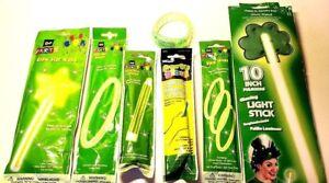 Glow-Light-Up-Accessories-Sticks-Jewelry-Wands-Green-Costume-Fun-Safety-Lots-NIP