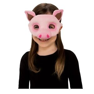 Child Boys Girls Pink Plush Animal Farm Piglet Pig Halloween Costume Eye Mask