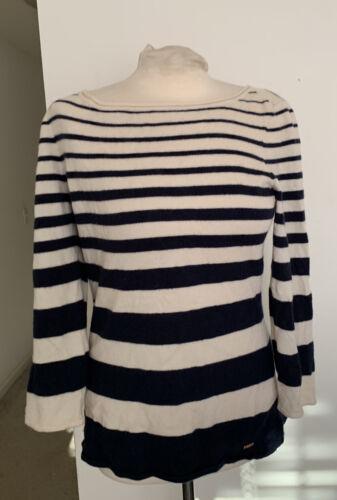 Escada Cashmere Striped Sweater Navy Ivory Sz L