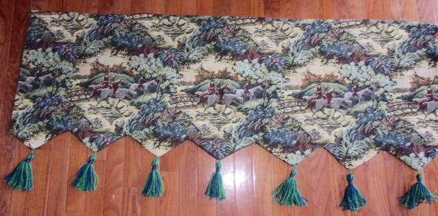 Custom Made Tapestry Valance with Hunting Scene Excellent condition 53 by 18