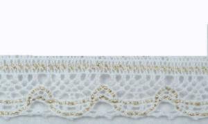1-M-de-Dentelle-au-Fuseau-Coton-Lurex-30-mm-Blanc-avec-Or