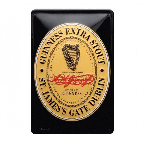 Irish Wall Hanging Metal Sign 3D Effect Guinness Heritage