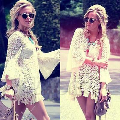 Vintage Sexy Lace Hippie Boho Bell Sleeves Gypsy Festival Fringe Mini Dress Tops