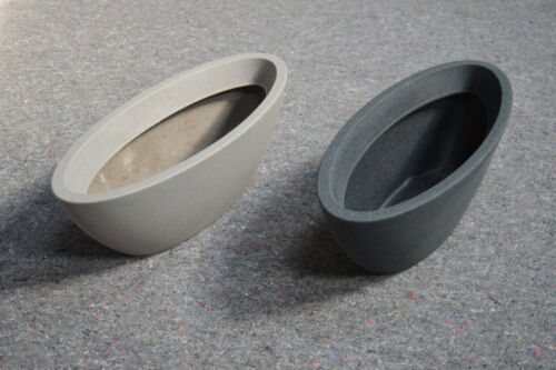 Pflanzschale oval Kunststoff Taupe Set Pflanzjardiniere Padua Anthrazit