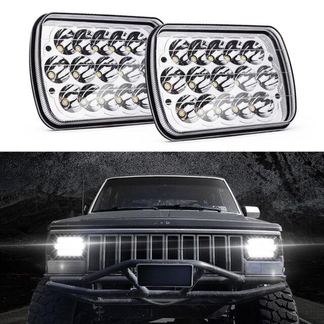 Pair 7X6 5X7 Sealed Beam White LED Headlight Lamp High/low beam for Pickup Truck