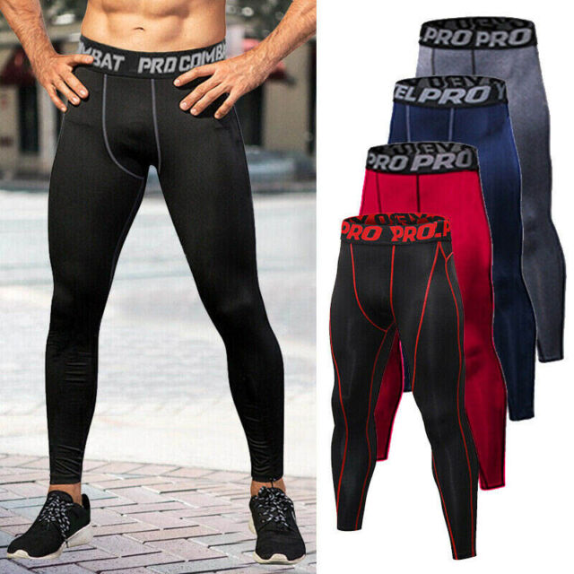 Mens Compression Base Layer Workout Long Pants Running Gym Sports Thermal Tights