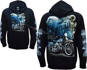 sweat zippé homme bikers wolf