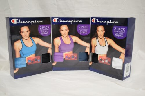 New Champion 2 Pack Reversible Sports Bra w// Double Dry Tech Various Colors Size
