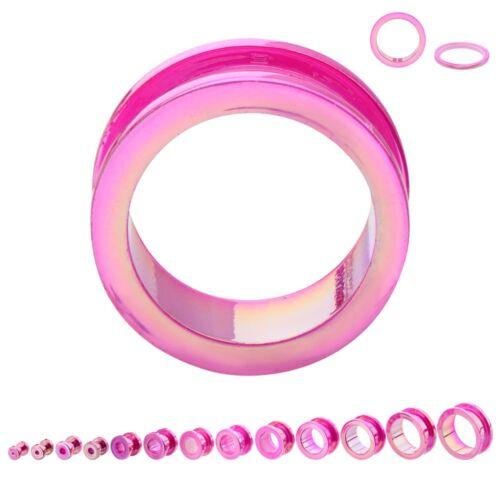 "PAIR-Metallic Pink Acrylic Screw On Ear Tunnels 12mm//1//2/"" Gauge Body Jewelry"