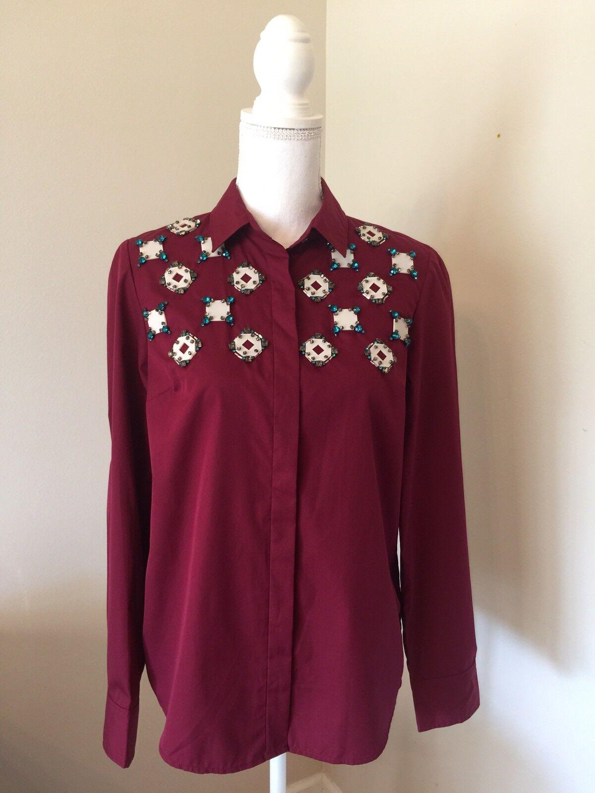 NWOT J Crew Collection Jeweled Geo Shirt Burgundy Sz 6 B0258  Sample Item