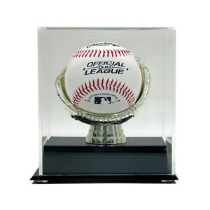 SINGLE BASEBALL ACRYLIC DISPLAY CASE with GOLD GLOVE